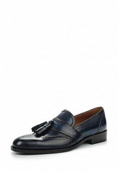 Мужские синие итальянские кожаные туфли лоферы