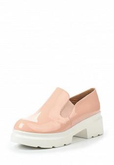 Женские розовые туфли лоферы на каблуке на платформе