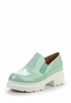 Женские зеленые лаковые туфли лоферы на платформе