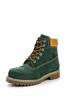 Женские зеленые осенние ботинки из нубука на каблуке