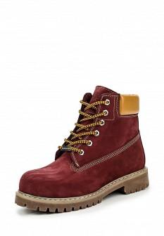 Женские бордовые осенние ботинки из нубука на каблуке