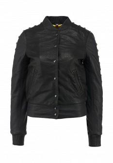 Женская черная осенняя кожаная куртка