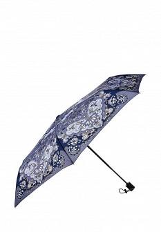 Женский синий осенний складной зонт