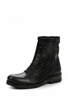 Женские черные осенние кожаные сапоги из нубука