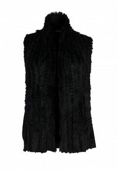 Женский черный осенний меховой жилет
