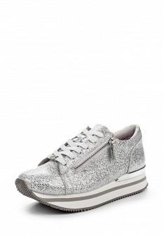 Женские осенние серебряные кожаные кроссовки