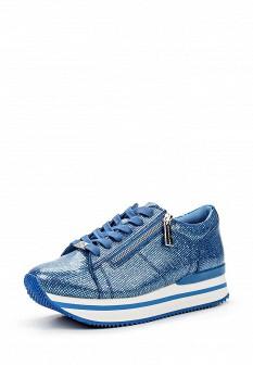 Женские синие осенние кожаные кроссовки