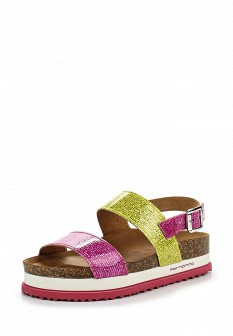 Женские итальянские кожаные сандалии на каблуке