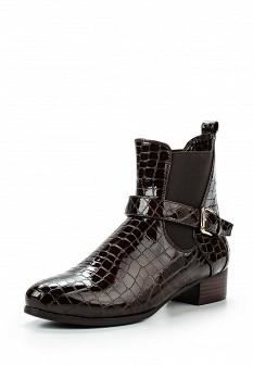 Женские коричневые кожаные лаковые сапоги на каблуке