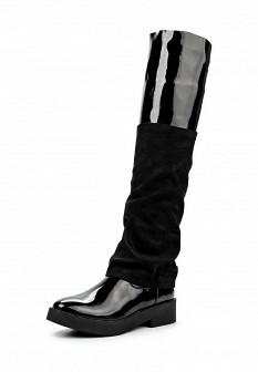 Женские кожаные лаковые сапоги на каблуке на платформе