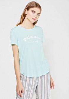 Женская бирюзовая домашняя футболка