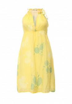 Желтое итальянское осеннее платье