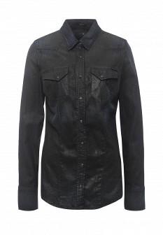 Женская черная джинсовая рубашка