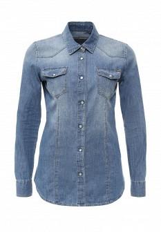 Женская синяя итальянская осенняя джинсовая рубашка