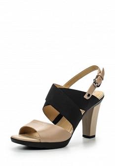 Женские бежевые кожаные текстильные босоножки на каблуке