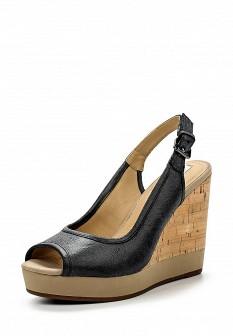 Женские черные кожаные босоножки на каблуке на платформе