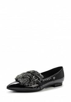 Женские итальянские лаковые туфли лоферы с мехом
