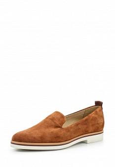 Женские коричневые туфли лоферы на каблуке