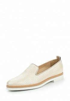 Женские бежевые кожаные туфли лоферы на каблуке