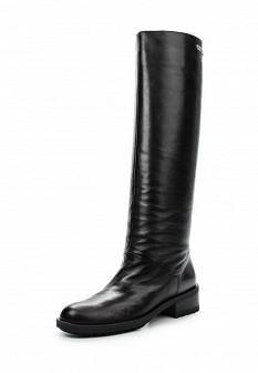 Женские черные кожаные полиуретановые сапоги на каблуке