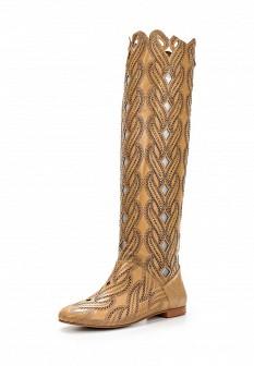 Женские коричневые осенние кожаные сапоги