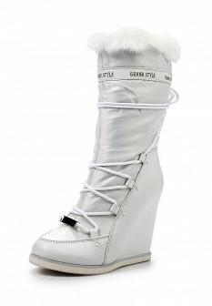 Женские белые кожаные лаковые сапоги на каблуке