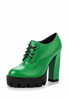 Женские зеленые осенние кожаные ботильоны на платформе