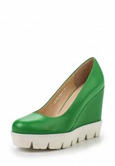 Женские зеленые кожаные туфли на каблуке на платформе