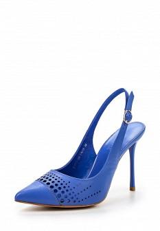 Женские голубые кожаные босоножки на каблуке