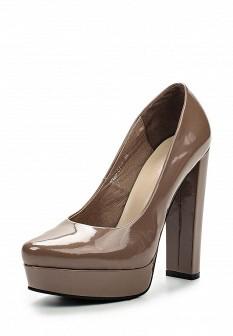 Женские бежевые осенние кожаные туфли на платформе
