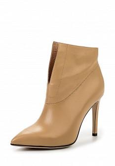Женские бежевые осенние кожаные ботильоны на каблуке