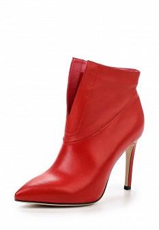 Женские красные кожаные босоножки на каблуке