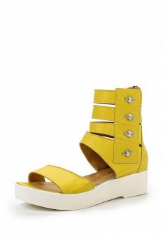 Женские желтые кожаные босоножки на каблуке на платформе