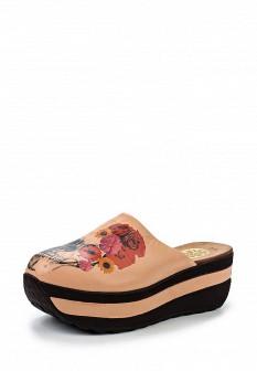 Женские розовые кожаные сабо на каблуке на платформе