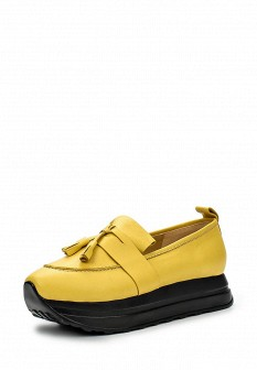 Женские желтые осенние туфли лоферы на платформе