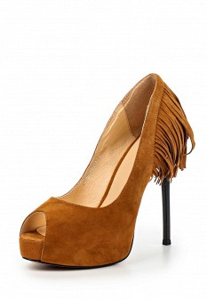 Женские коричневые осенние туфли на каблуке на платформе