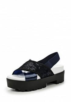 Женские синие кожаные сандалии на каблуке