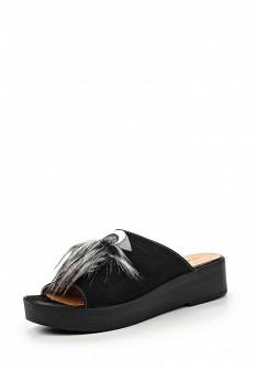 Женские черные сабо на каблуке на платформе с мехом