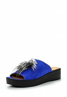 Женские синие сабо на каблуке на платформе с мехом