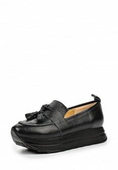 Женские черные кожаные туфли лоферы на платформе