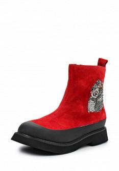 Женские красные осенние сапоги на каблуке
