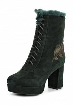 Женские зеленые сапоги на каблуке на платформе с мехом