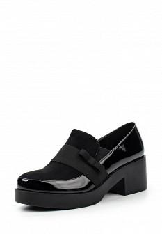 Женские черные кожаные лаковые туфли на платформе