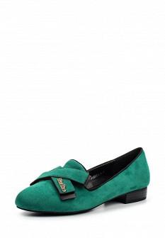 Женские зеленые туфли лоферы на каблуке