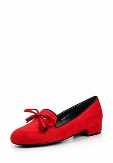 Женские красные туфли лоферы на каблуке