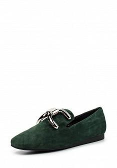 Женские зеленые туфли лоферы