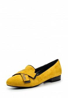 Женские желтые туфли лоферы на каблуке