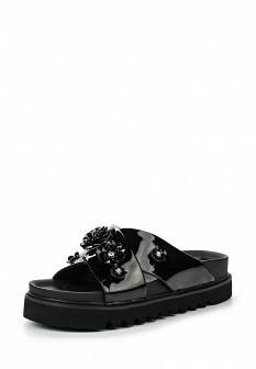 Женские черные лаковые сабо на каблуке