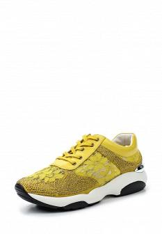 Женские желтые кожаные кроссовки