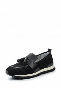 Женские черные кожаные текстильные туфли лоферы